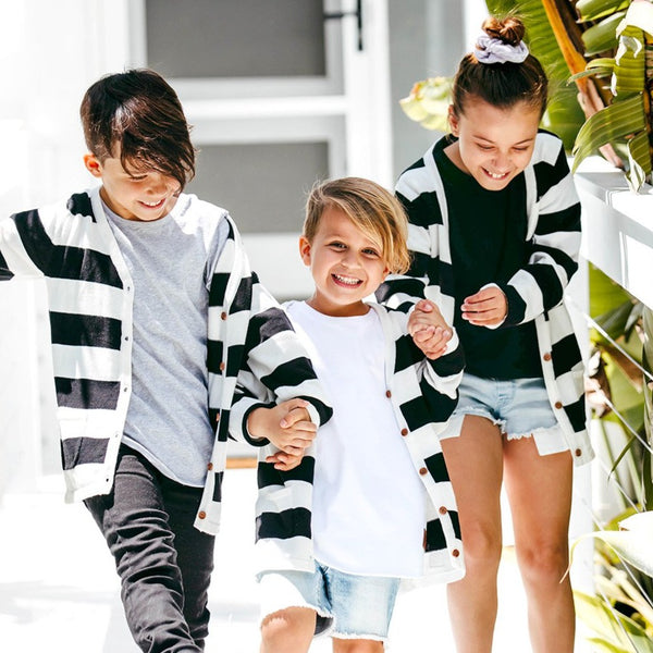 Black + White Stripe Cardigan - Beau Hudson
