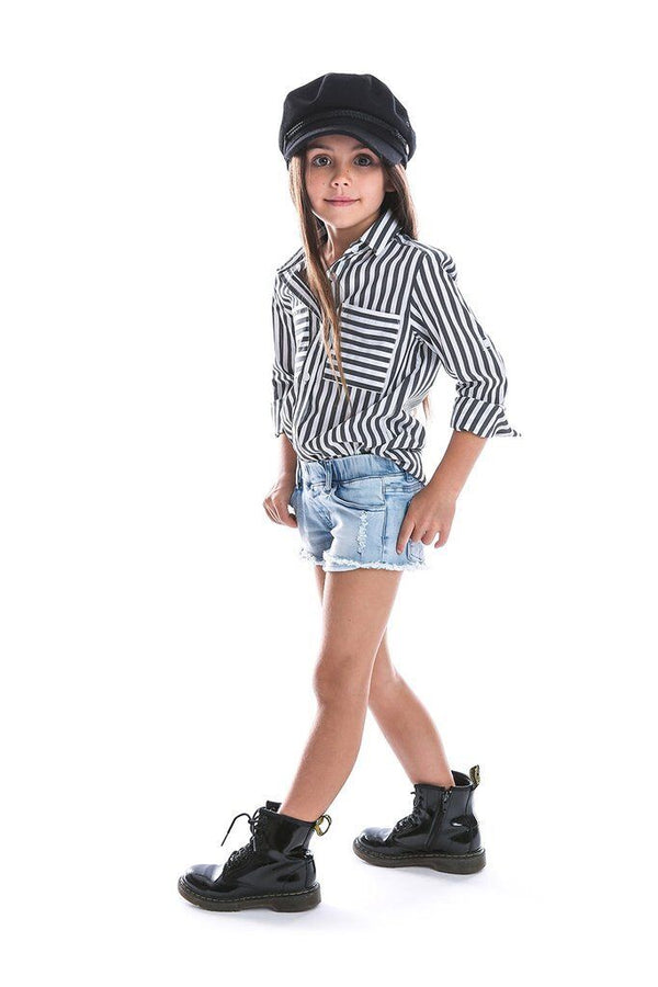 Black & White Striped Shirt - Beau Hudson - also pictured jean shorts, black boots