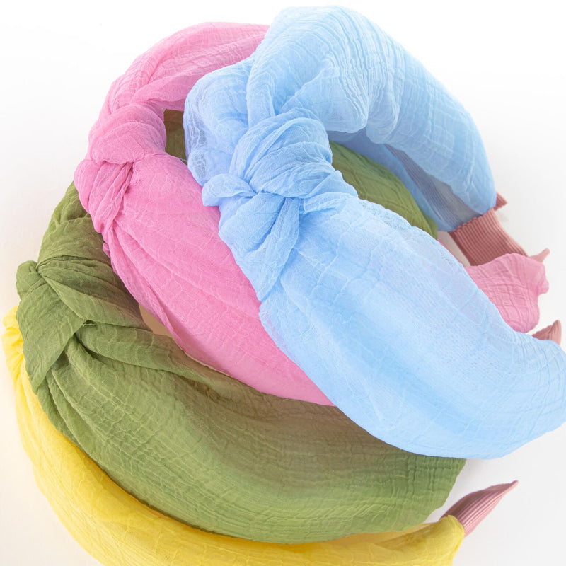knotted headband - pastel colours – green, blue, yellow, and pink