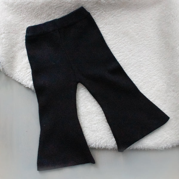Girl Black Knit Flare Pant