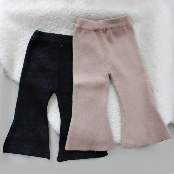Girl Black and Beige Knit Flare Pant