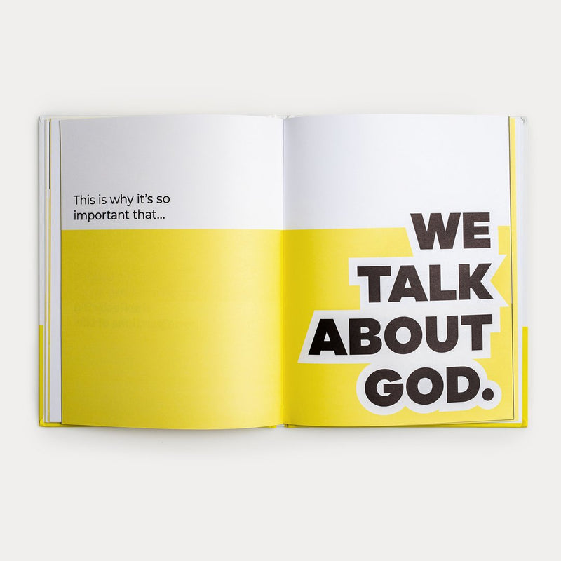 "A Spread of A Kids Book About God. It says ""This is why it's so important that... we talk about God."""