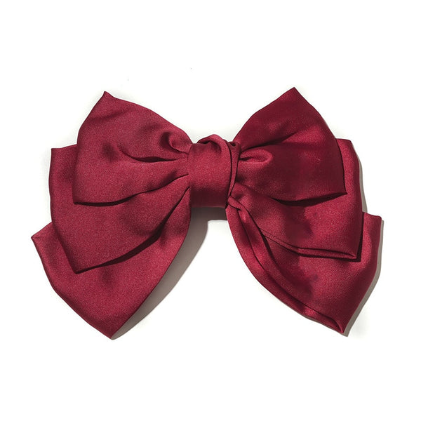 Sophie Red Satin Bow Clip