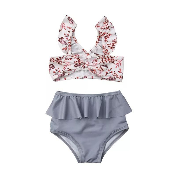 Floral print two piece high waist swimsuit girl