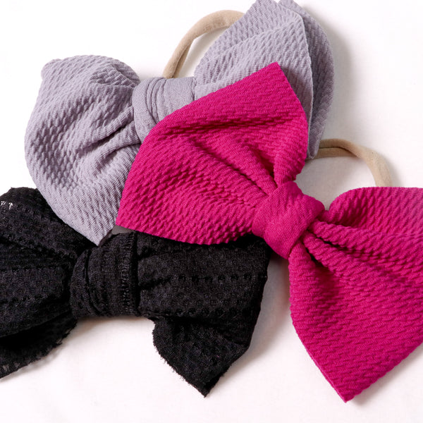 Pink, Purple and Black Bow Hair Tie; Pink, Purple, Black Baby Headband