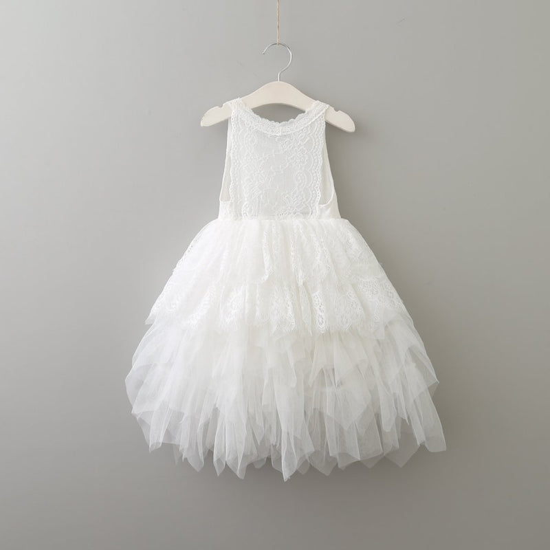 Girl white lace and layered tulle dress