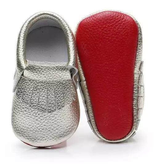 Louboutin Baby Moccasins - Gold and Red