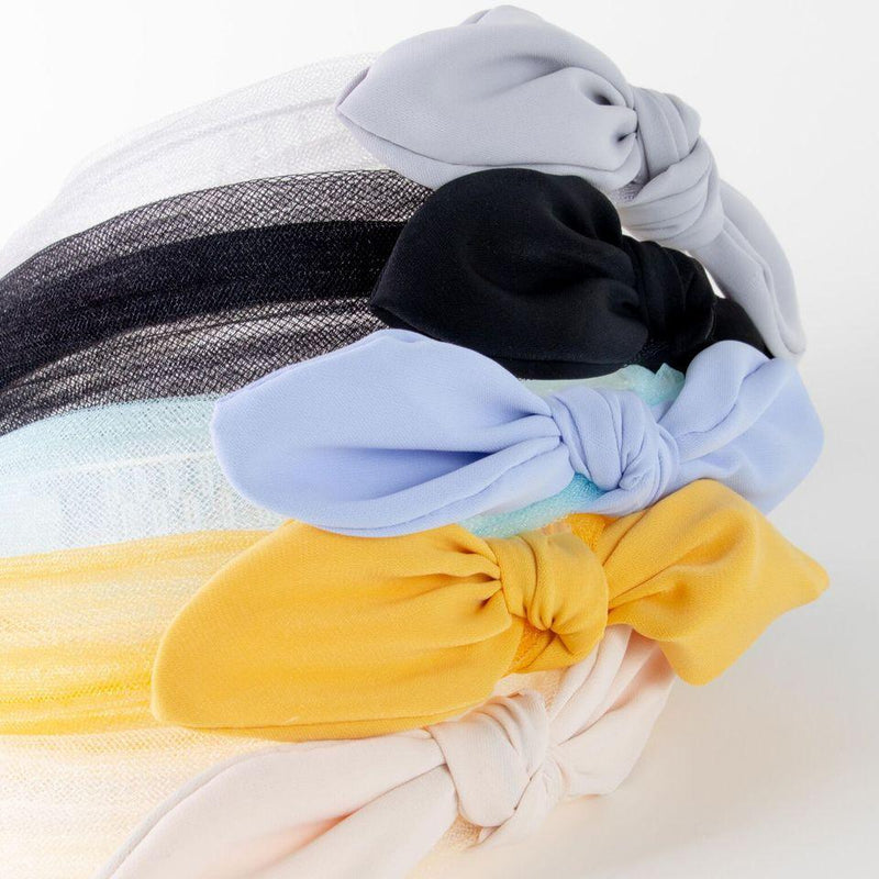 knotted bow headband - grey, periwinkle (blue), black, yellow, cream