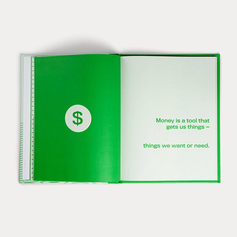 "A Spread of A Kids Book About Money. It says ""Money is a tool that gets us things - things we want or need."""