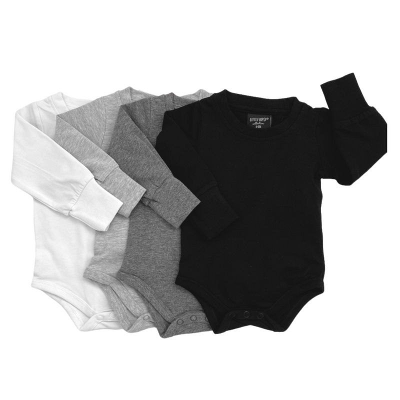 Long Sleeve Onesie (Black) - Little Bipsy - also pictured the long sleeve onesie in charcoal, grey and white
