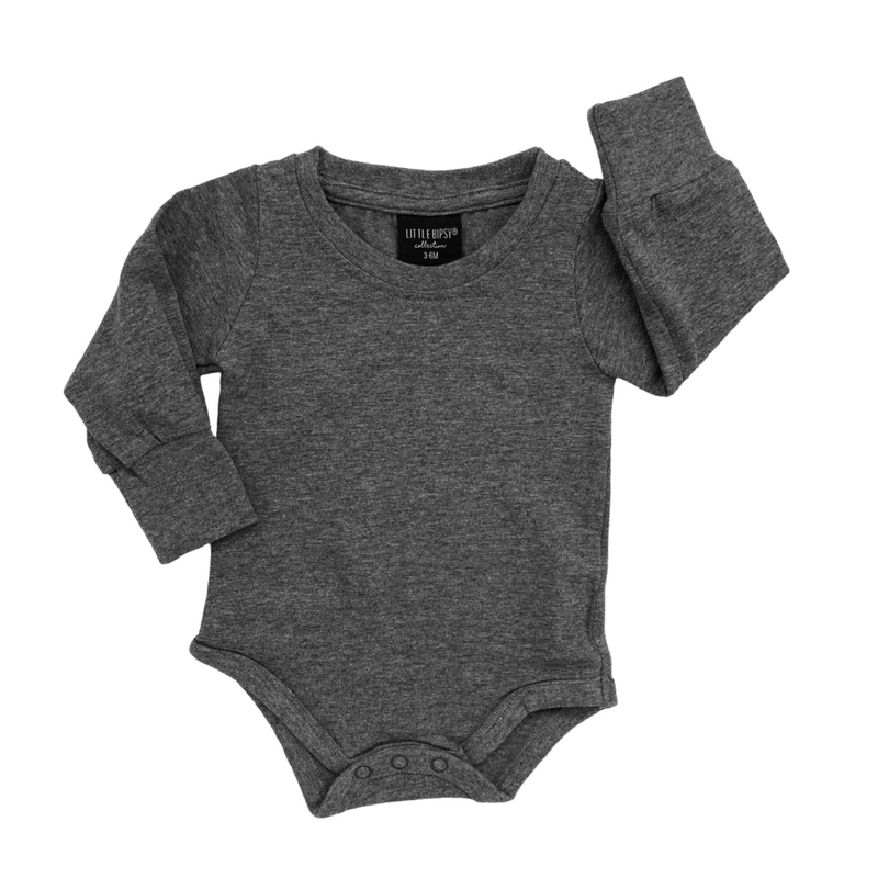 Long Sleeve Onesie (Charcoal) - Little Bipsy