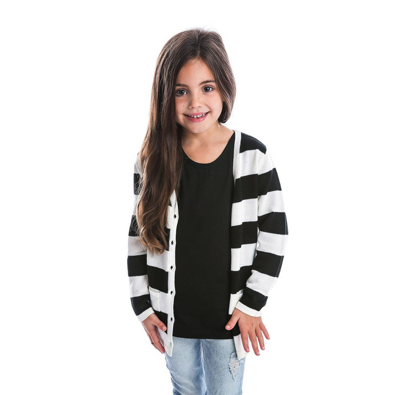 Black + White Strip Cardigan - Beau Hudson - also pictured black tee, ripped jeans
