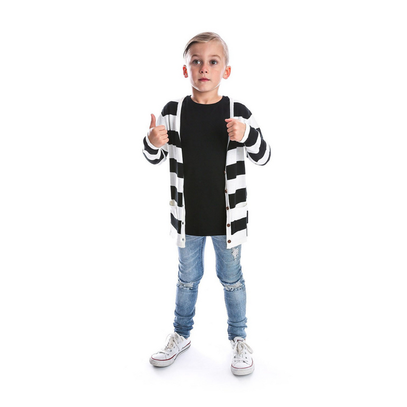 Black + White Strip Cardigan - Beau Hudson - also pictured black tee, ripped jeans, white converse