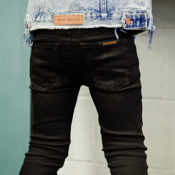 Black Denim Jeg Jeans - Beau Hudson - also pictured denim jacket