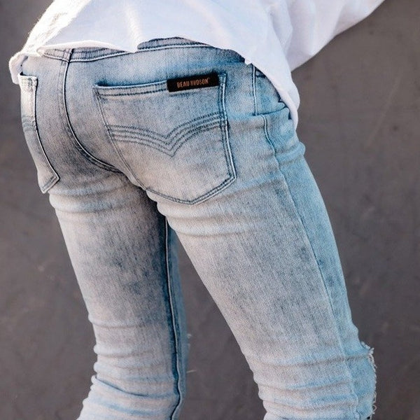 Blue Distressed Denim Jeg Jeans - Beau Hudson - also pictured white tee