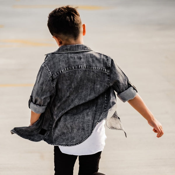 Black Denim Shirt Beau Hudson - also pictured black jeans, white tee