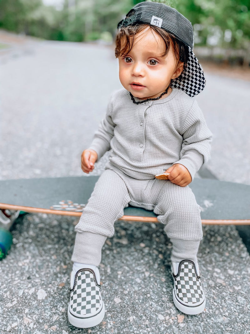 Thermal Romper (Grey) - Little Bipsy - also pictured green hat, checkered shoes
