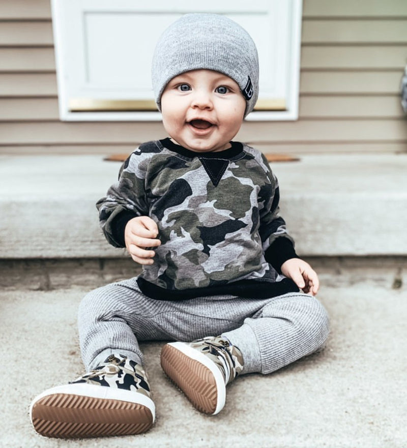 Pullover (Camo) - Little Bipsy - also pictured grey joggers, grey beanie / hat