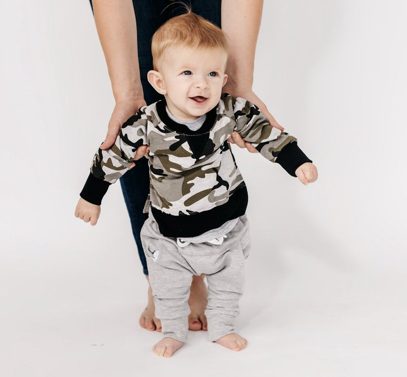 Pullover (Camo) - Little Bipsy - also pictured grey joggers