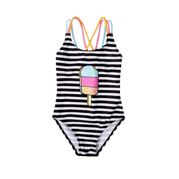 Black and white striped kids one piece bathing suit