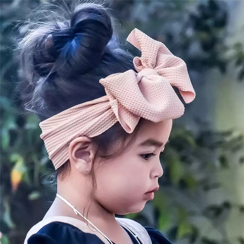 Pink Izzy Bow Fabric Headband