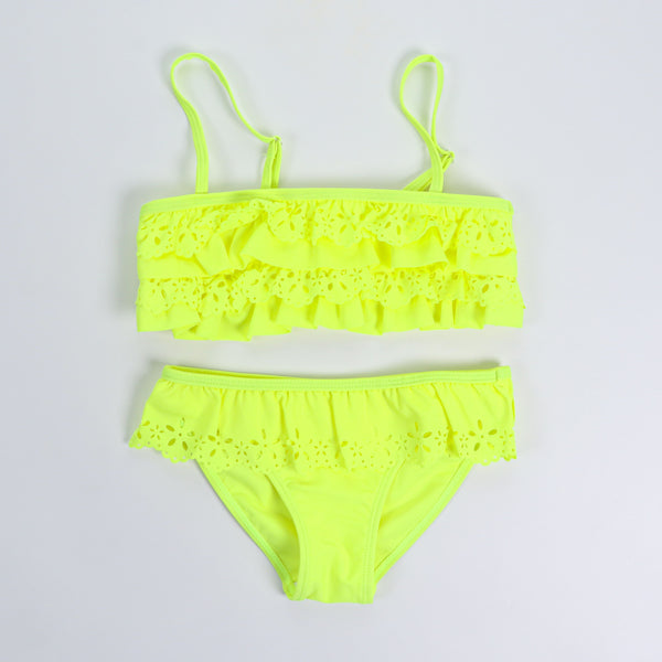 Neon Yellow Two Piece Bandeau Swimsuit Girl