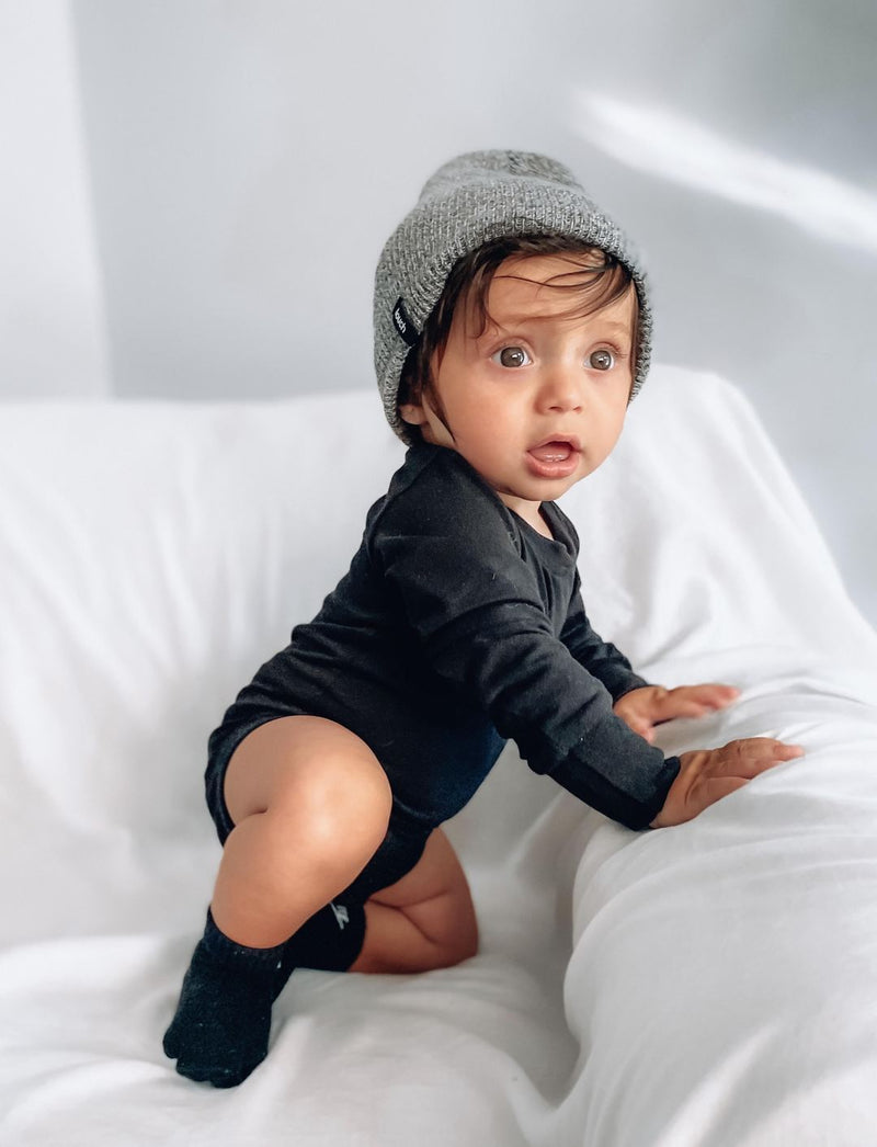 Long Sleeve Onesie (Black) - Little Bipsy - also pictured grey beanie/hat