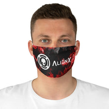 Load image into Gallery viewer, AlienX Fabric Face Mask Black With White Logo and Red Fire