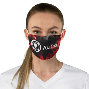 AlienX Fabric Face Mask Black With White Logo and Red Fire