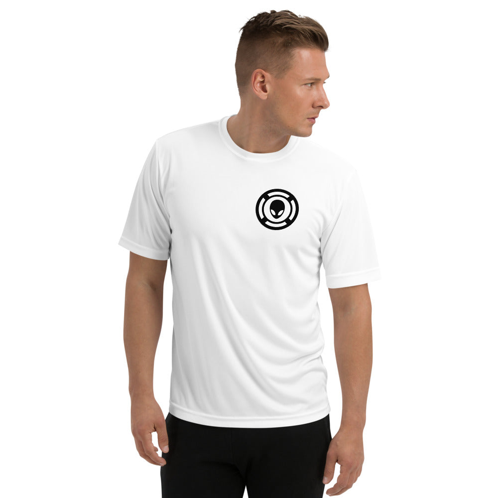 AlienX Mens, White, Moisture Wicking Sports Performance Shirt, Black Logo