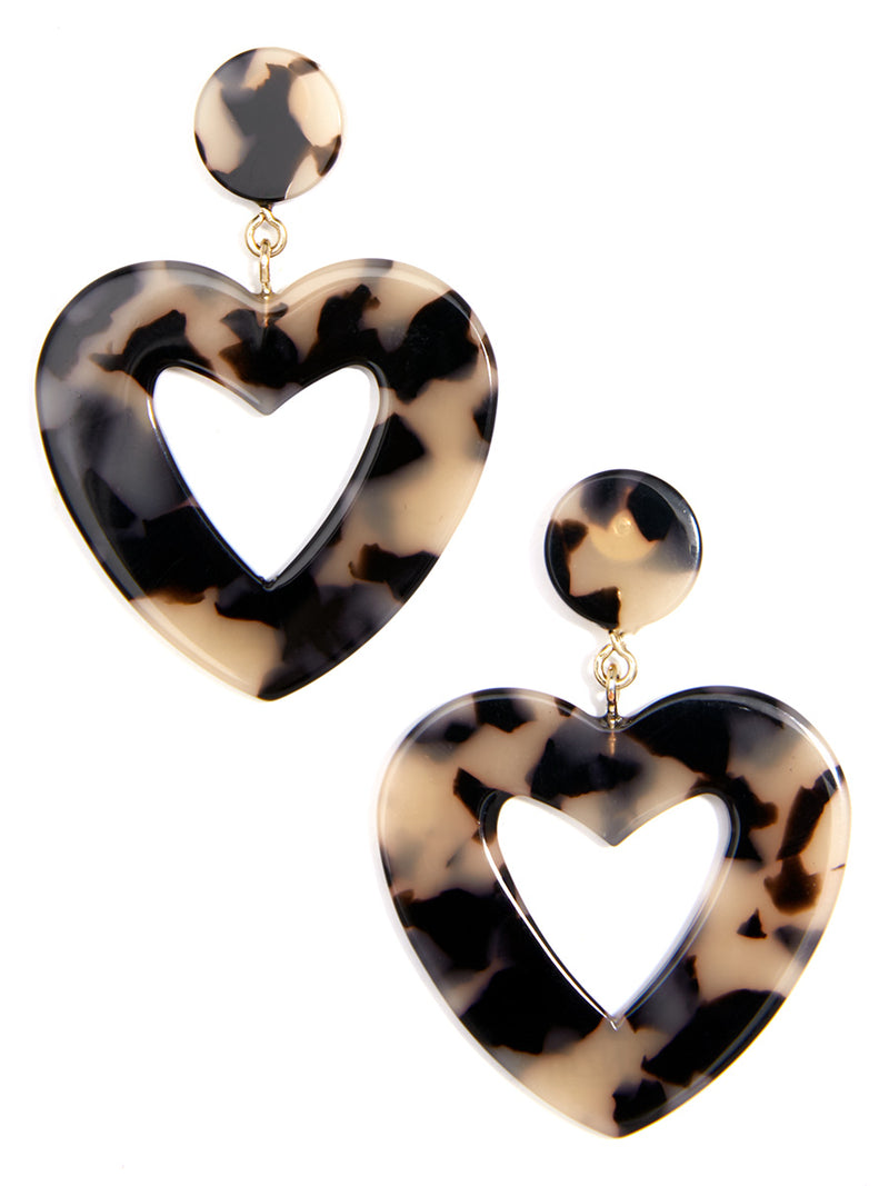 Acetate Heart Drop Earring
