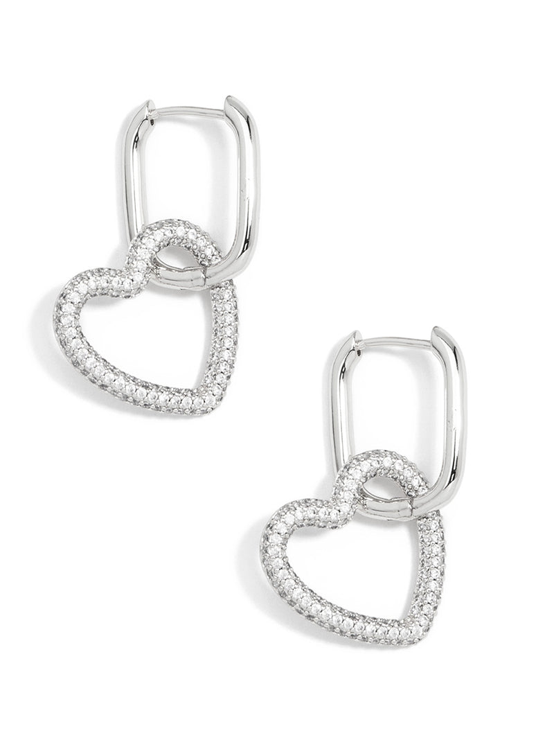 Classic Crystal Heart Link Drop Earring
