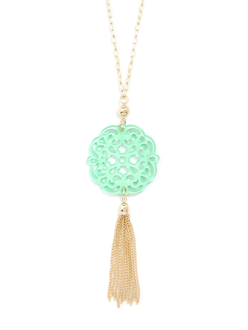 Allure Resin Pendant Necklace with Tassel