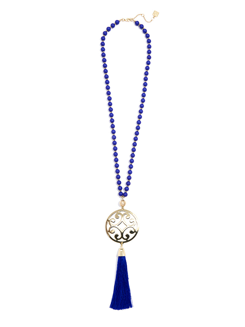Circle Scroll Metal Pendant Necklace with Tassel