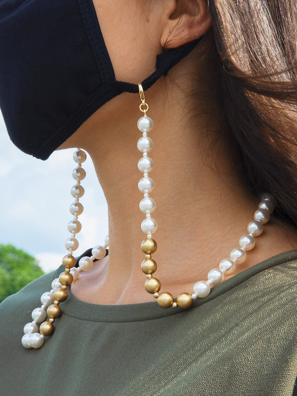 Matte Gold and Pearl Eyeglass Chain