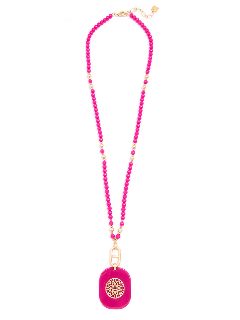 Heather Beaded Pendant Long Necklace