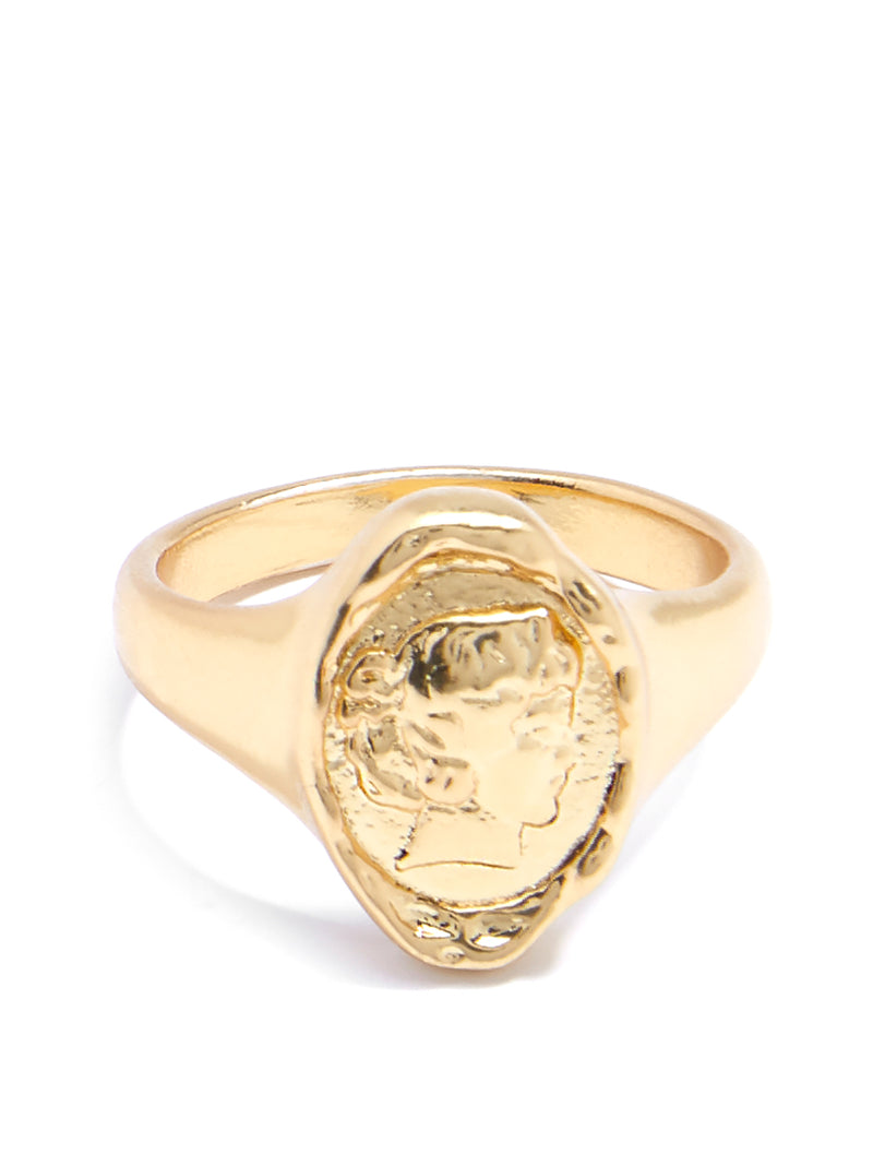 Amour Engraved Coin Ring