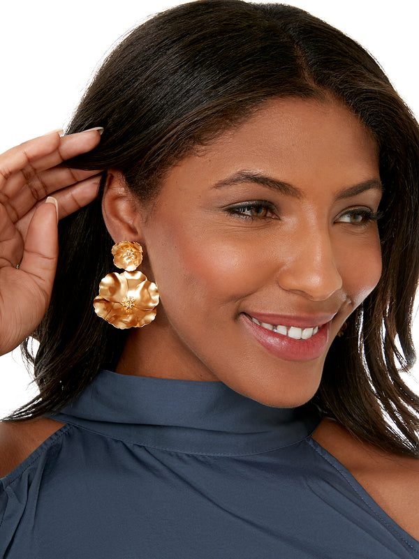 Matte Metal Flower Power Earring