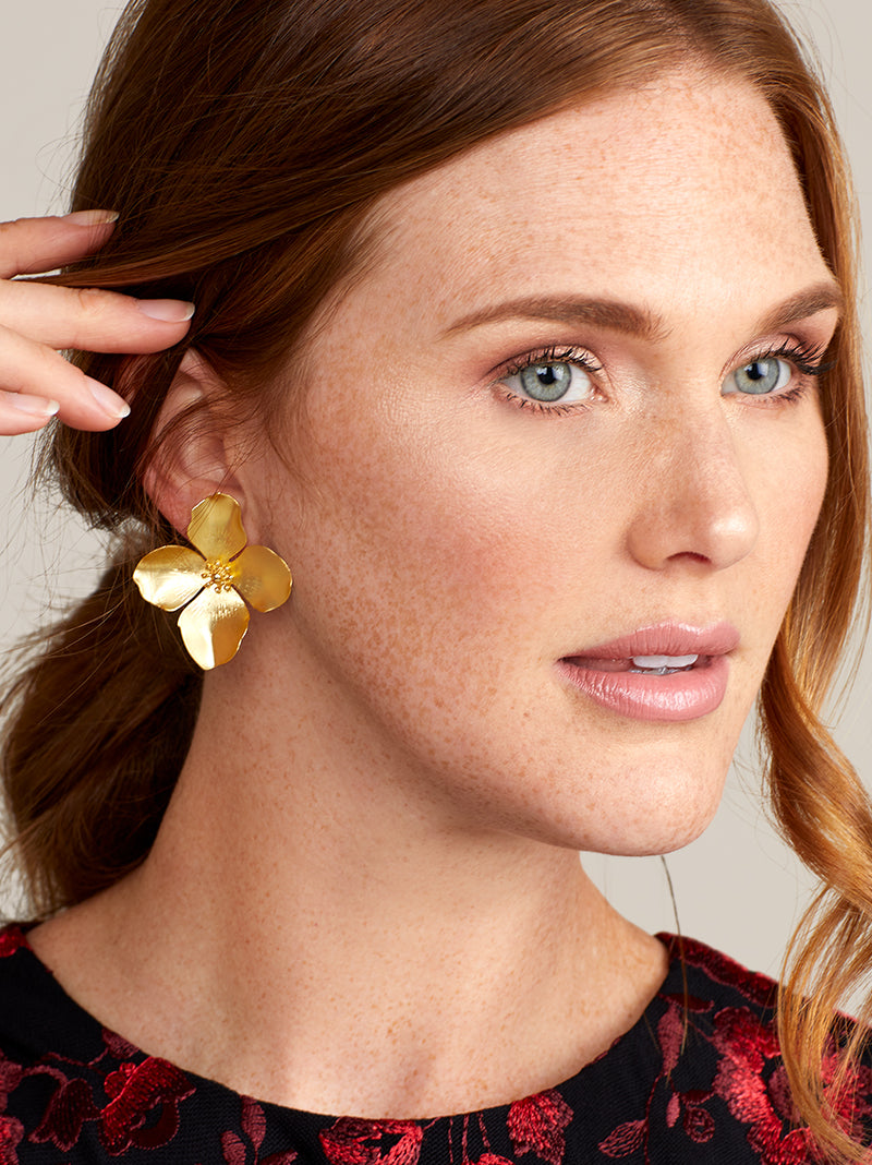 Matte Metallic Flower Statement Earring