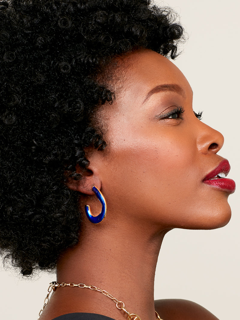Picture This Enamel Hoop Earring