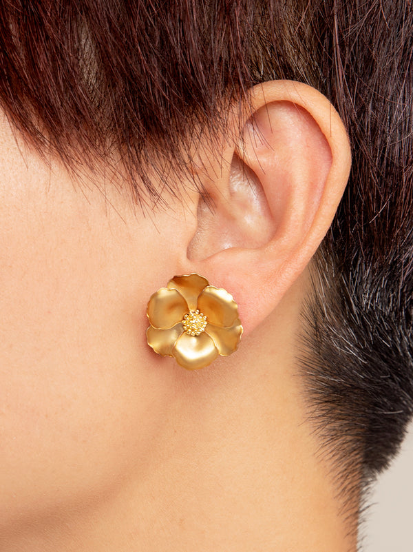 Amelia Metallic Flower Stud Earring