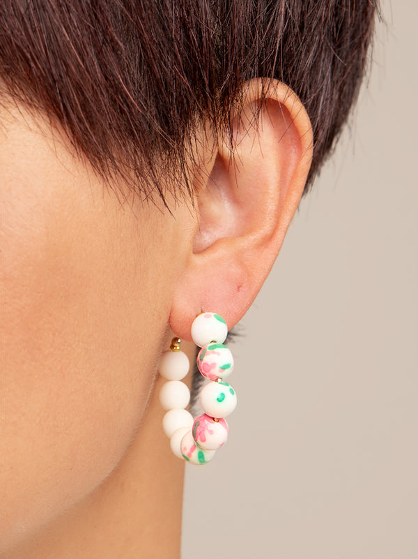 Nora Small Beaded Hoop Earring