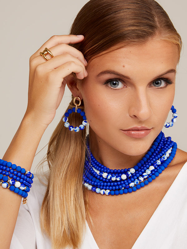 Blue Marbled Beaded Collar Necklace