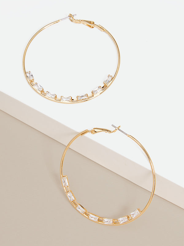 Sophie Crystal Embellished Hoops Earring