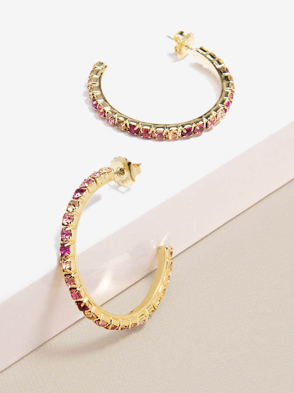 Colorful Crystals Hoop Earring