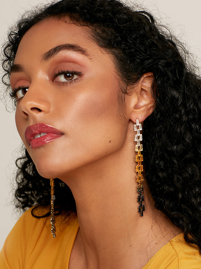 Gradient Crystal Chain Drop Earring