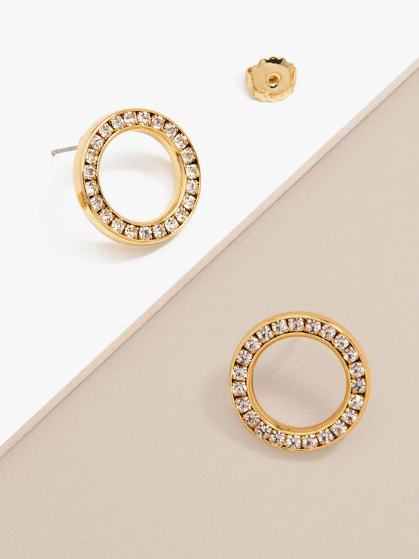 Pavé Circle Stud Earring