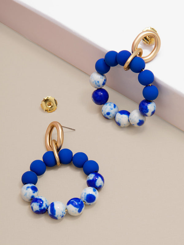 Blue Marbled Beaded Drop Hoop Earring