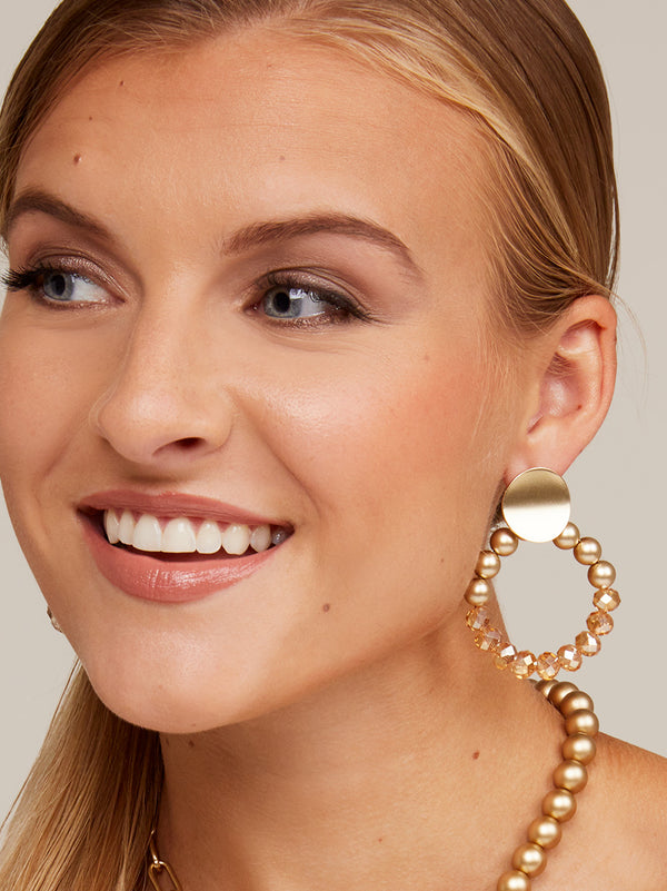 Golden Horizon Beaded Drop Earring