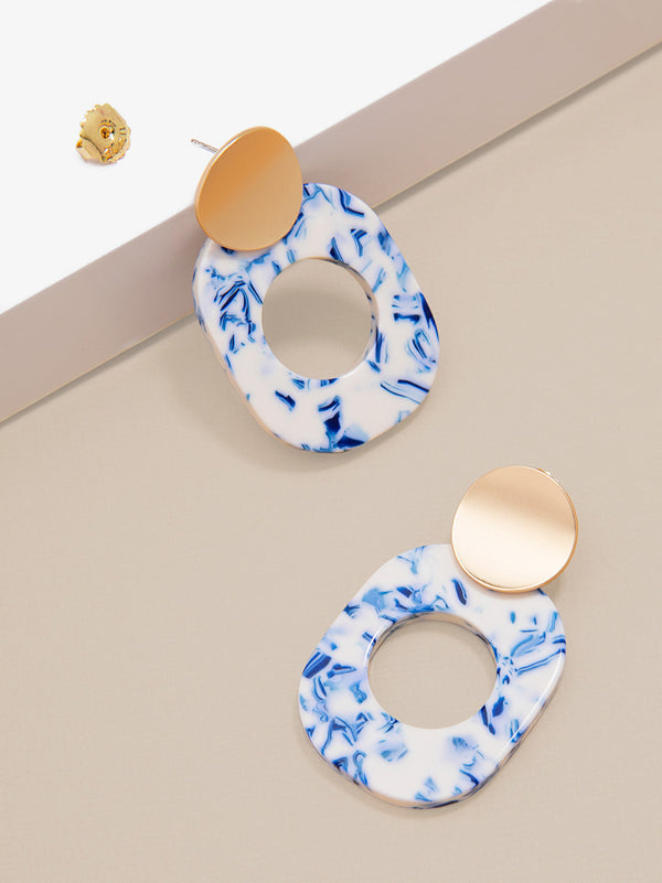 Blue Marbled Acetate Drop Earring